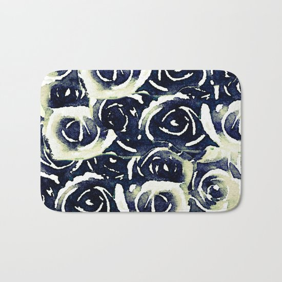 roses in deep blue Bath Mat