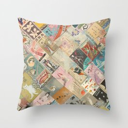 Vintage Japanese matchbox collage Throw Pillow