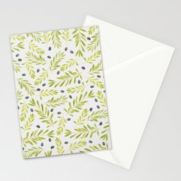 Watercolor Olive Branches Pattern Stationery Cards