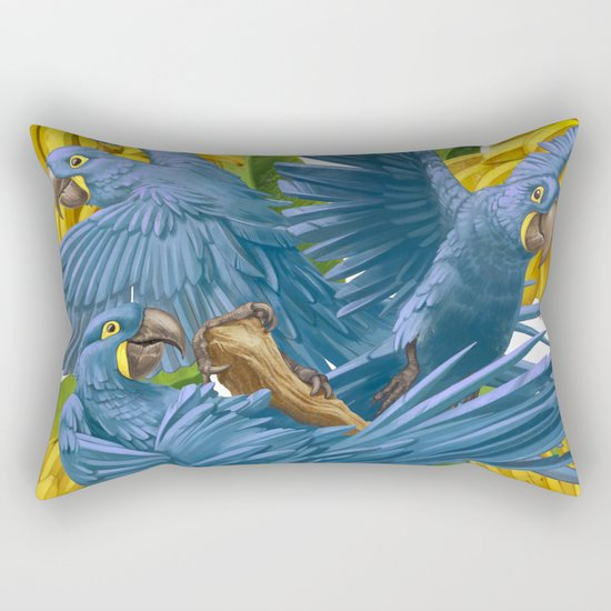 Hyacinth macaws and bananas Stravaganza. Rectangular Pillow
