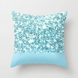 Sparkly Frozen Blue Glitter Ombre Throw Pillow