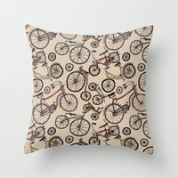 bicycles Throw Pillows featuring Bicycles by Mario Zucca