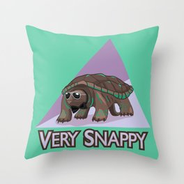 Very Snappy Snapping Turtle Throw Pillow