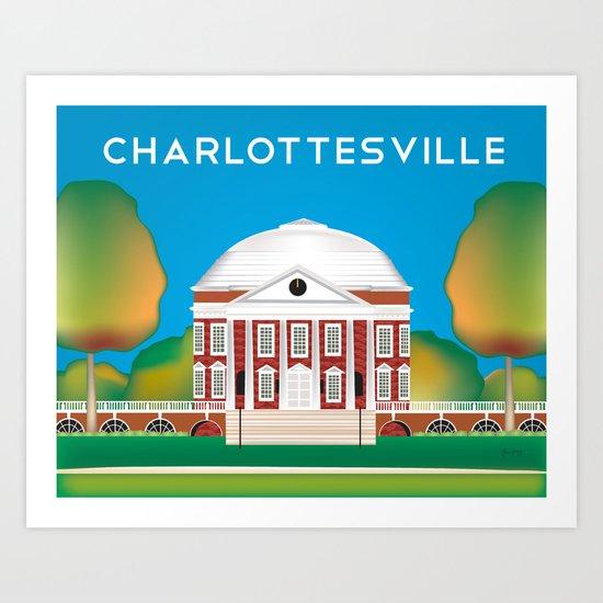 Charlottesville, Virginia - Skyline Illustration by Loose Petals by loosepetals