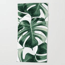 Tropical Monstera Leaves Dream #2 #tropical #decor #art #society6 Beach Towel