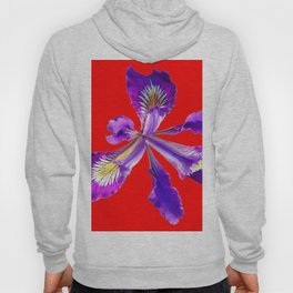 AMETHYST  PURPLE DUTCH IRIS FLOWER ON RED DESIGN Hoody