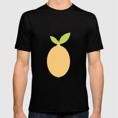 #53 Lemon  Mens Fitted Tee Black MEDIUM