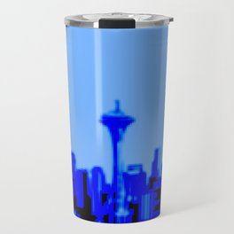 Pixilated/Blurred Seattle Skyline - blue Travel Mug