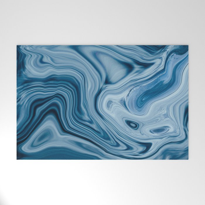 Splash of Blue Swirls, Digital Fluid Art Graphic Design Welcome Mat