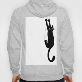 Black Cat Hanging On | Funny Cat Hoody