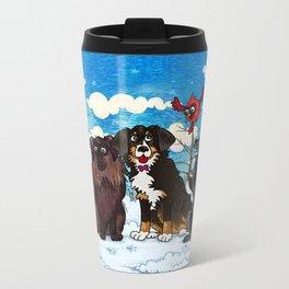 Three Dogs Posing in Winter Metal Travel Mug