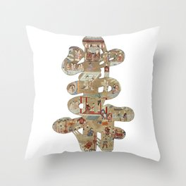 Chinese 'Shou' longevity character - silk embroidered calligraphy - lucky cursive symbol Throw Pillow