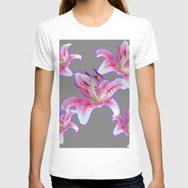 PURPLE & PINK ASIAN LILIES GREY ART PATTERNS T-shirt