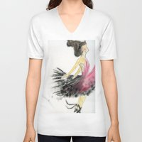 dance V-neck T-shirts featuring Dance by Natalie Woo artwork