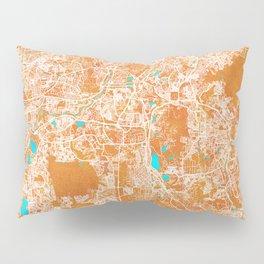Kuala Lumpur, Malaysia, Gold, Blue, City, Map Pillow Sham