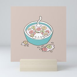 Milky Cat Cereal Bath Mini Art Print