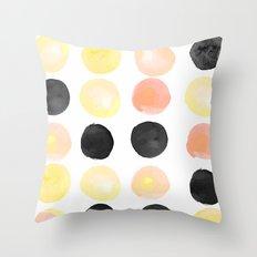 Peach + Coal Dots Throw Pillow