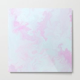 Abstract teal magenta pink watercolor marble pattern Metal Print