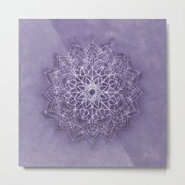 Vintage Lavender Watercolor Mandala Metal Print