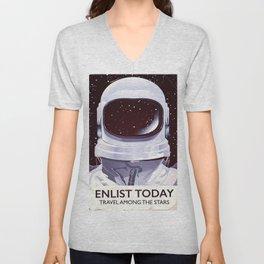 Vintage astronaut training poster Unisex V-Neck