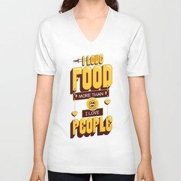 I Love Food Unisex V-Neck