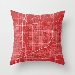 Sioux Falls Map, USA - Red Throw Pillow