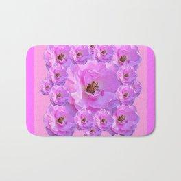 Fuchsia Purple Pink Wild Roses Pattern Art Bath Mat