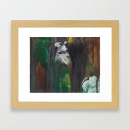 Llama in Wood Framed Art Print