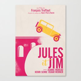 Jules et Jim, François Truffaut, minimal movie Poster, Jeanne Moreau, french film, nouvelle vague Canvas Print