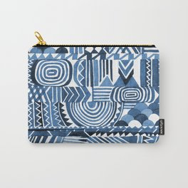 Circle Pattern Blue Carry-All Pouch