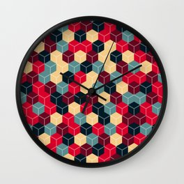 Colourful Cubes Wall Clock