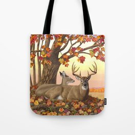 Hilltop Retreat Whitetail Deer Painting Tote Bag