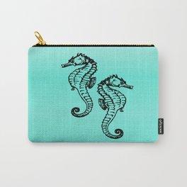 Aqua Seahorse Design Carry-All Pouch