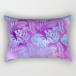 Iridescent Tropical Leaves in Aqua and Purple-Pink Colors Rectangular Pillow