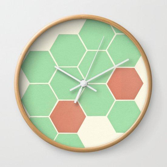 Mint Honeycomb Wall Clock