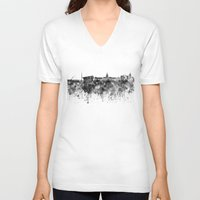 dublin V-neck T-shirts featuring Dublin skyline in black watercolor by Paulrommer