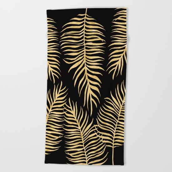 Fern Pattern Gold On Black Background Beach Towel