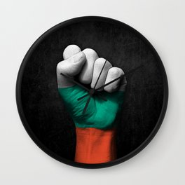 Bulgarian Flag on a Raised Clenched Fist Wall Clock