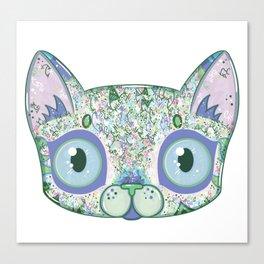 Chromatic Cat III (Green, Blue, Pink) Canvas Print
