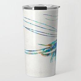 Blue Shrimp Art by Sharon Cummings Travel Mug