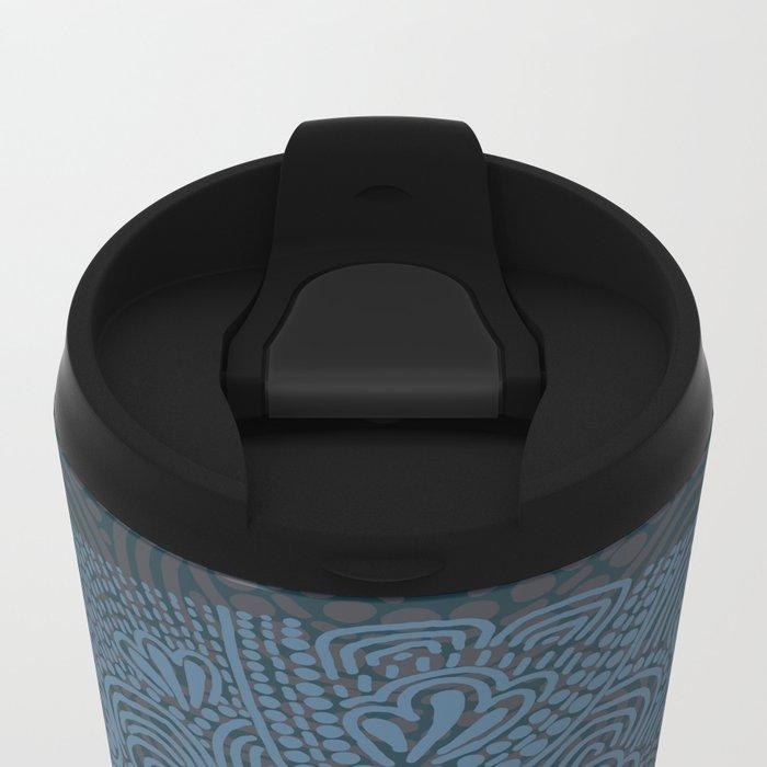Primitive Blue Circle Metal Travel Mug