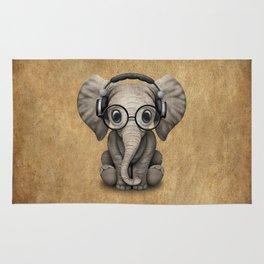 Cute Baby Elephant Dj Wearing Headphones and Glasses Rug