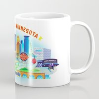cities Mugs featuring Twin Cities by Jane Gardner