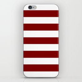 Maroon (HTML/CSS) - solid color - white stripes pattern iPhone Skin