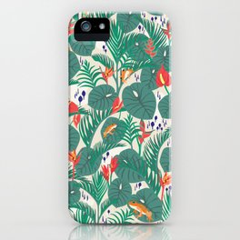 Tropical Frogs in the Jungle - Cream iPhone Case