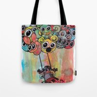 baloon Tote Bags featuring baloon by Hugo Lucas