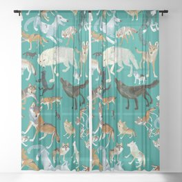 Wolves of the World Green pattern Sheer Curtain
