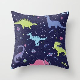 Dinosaurs in Space Throw Pillow