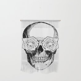 Skull and Roses   Black and White Wall Hanging