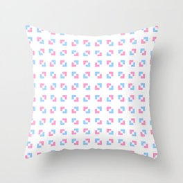 square and tartan 19 - Pink and blue Throw Pillow